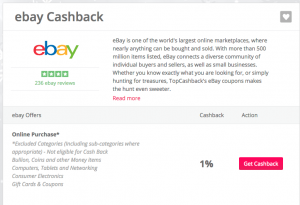 今回はeBayでキャッシュバックを受けます。キャッシュバック率は1%です。cashbackという赤いボタンをクリックします。
